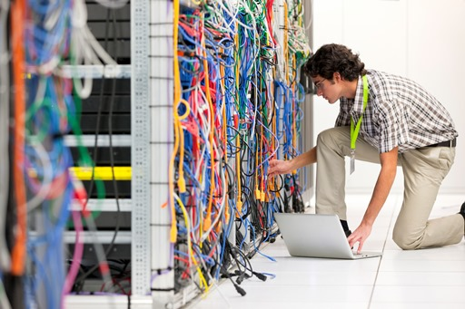 Tangled cables in data centre