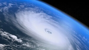 Aerial shot above a hurricane