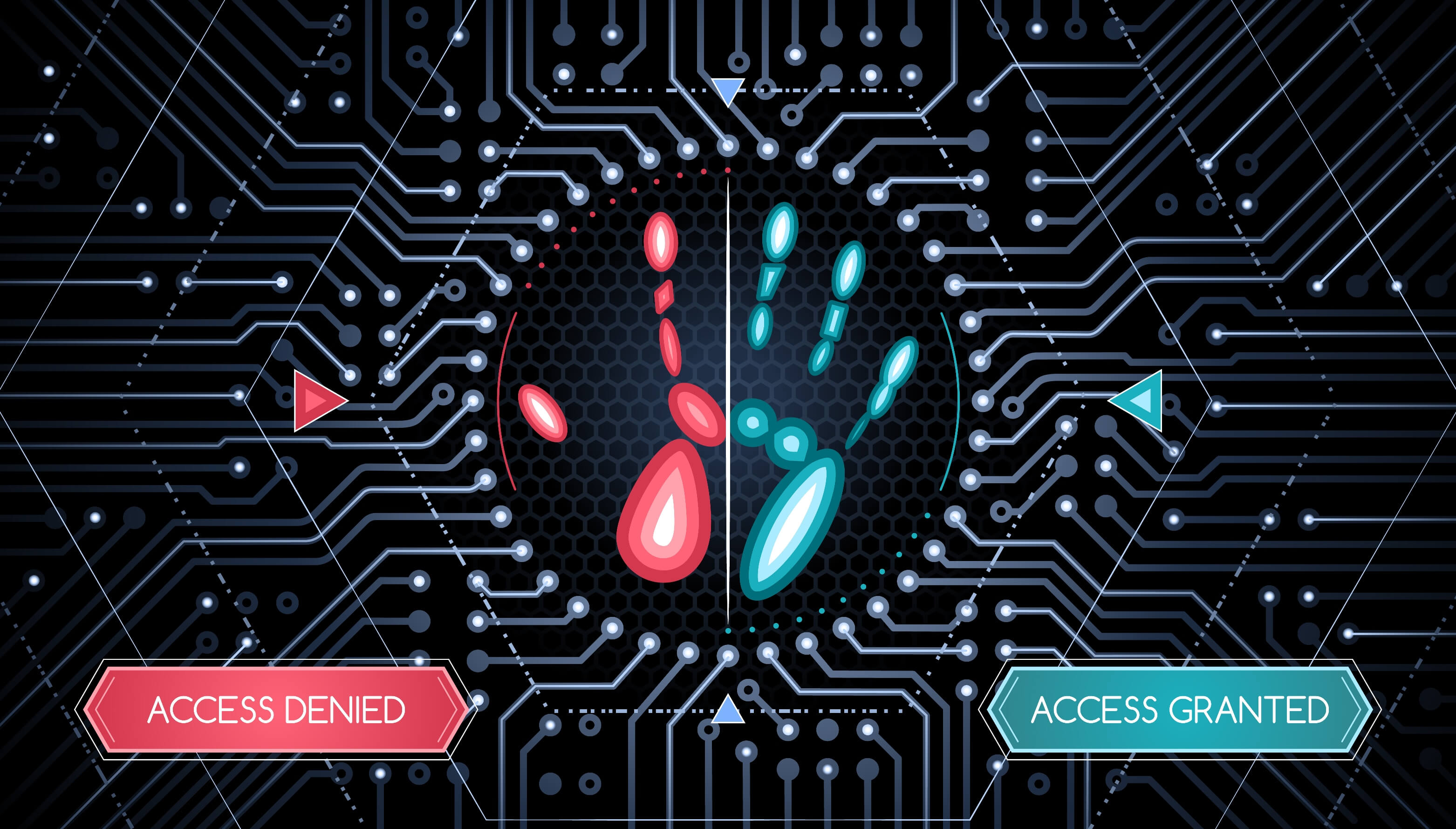 Digital hand says access gained and access denied - iomart